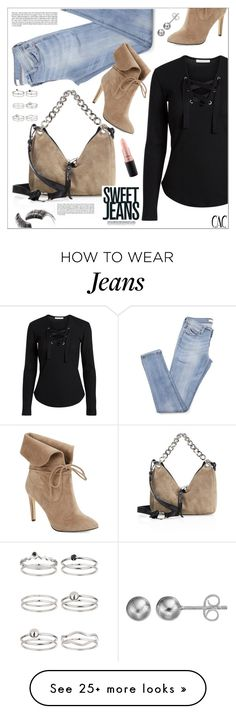"""""""Sweet Jeans"""" by christinacastro830 on Polyvore featuring 424 Fifth, Jimmy Choo, Miss Selfridge, MAC Cosmetics, Beauty Is Life and Journee Collection"""