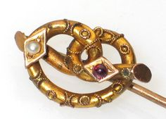 ANTIQUE VICTORIAN 18K PEARL GARNET LOVE KNOT STICK PIN /195