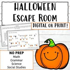The perfect digital escape room for upper elementary students, students will complete tasks in math, grammar, reading, science, and social studies to help solve the mystery! Can your students helps Gary the Ghost figure out where Spooky the Spider hid his candy in time for Halloween? Escape Room, Social Studies, Grammar, Teacher Created Resources, Study, Science, Upper Elementary, 5th Grades, Fourth Grade