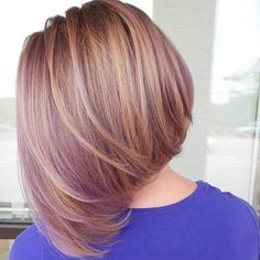 "This ""lavender blonde"" bob was achieved by mixing Purple Passion and our pastelizer & is the perfect amount of subtle color Subtle Purple Hair, Low Light Hair Color, Dyed Hair Purple, Short Hair Updo, Long Bob Hairstyles, Fancy Hairstyles, Short Hair Styles, Blonder Bob, Lavender Hair"