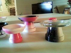 cupcake stands I made.... terracotta pots and spray paint