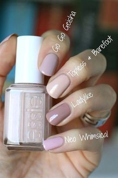 Essie Nail Polish Collection Go Go Geisha Comparison diynagellack Manicure Y Pedicure, Easy Nails, Soft Nails, Nail Polish Collection, Nagel Gel, Nude Nails, Blush Pink Nails, Glitter Nails, Nails Inspiration
