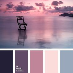 Shades of the eggplant color match the pastel shades of blue very harmoniously. This palette of cold colors is appropriate for bedroom decoration. Colour Pallette, Color Palate, Color Combos, Sunset Color Palette, Purple Palette, Pantone, Design Seeds, Colour Board, Bedroom Colors