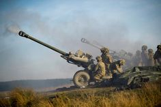The L118 Light Guns of C Battery, 3 Royal Horse Artillery live-firing on Ex STEEL SABRE in Northamptonshire.
