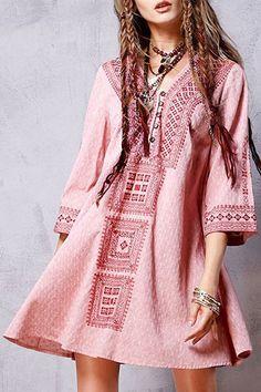 Embroidered Flared Vintage Dress