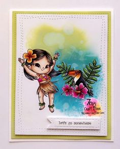 7 Kids Craft Store Hula Girl, Hawaii Vacation, Clear Stamps, Copic, Ukulele, Craft Stores, Crafts For Kids, Card Making, Paper Crafts