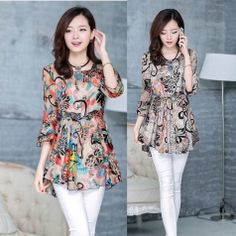 WOMENS Summer chiffon shirt printing Floral Half Sleeve Chiffon blouses S-XXL #oem #Blouse #Casual