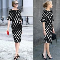 Vfemage Women Elegant Flare Trumpet Bell Sleeve Polka Dot Print Vintage Pinup Ca. - - Vfemage Women Elegant Flare Trumpet Bell Sleeve Polka Dot Print Vintage Pinup Casual Work Office Party Bodycon Sheath Dress 7692 2019 New Collection M. Modest Dresses, Simple Dresses, Elegant Dresses, Vintage Dresses, Casual Dresses, Fashion Dresses, Dresses With Sleeves, Summer Dresses, Short Sleeve Dresses