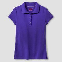 Girls' Short Sleeve Pique Polo Shirt Cat & Jack - Purple Xxl, Girl's