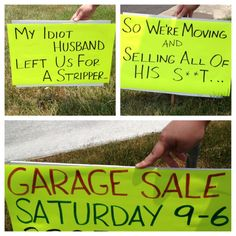 The best garage sale sign i made for tomorrow!!! Heehee | not just ...