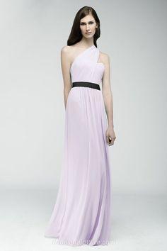 Lavender Crinkle Chiffon One-shoulder Floor Length Long Bridesmaid Dress