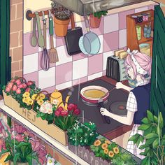 Find images and videos about mochipanko on We Heart It - the app to get lost in what you love. Manga Art, Anime Art, Bts Art, Posca Art, Grafiti, Anime Scenery, Kitchen Art, Cute Illustration, Aesthetic Art