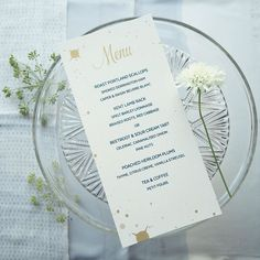 Anyone else hungry? Starry menu from my Meredith wedding stationery collection.