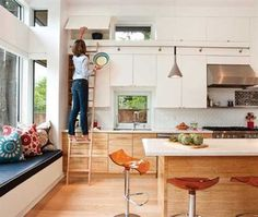 bamboo kitchen cabinets and window seat