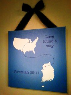 US to South Korea: Love Found A Way, Custom Hand painted travel map gallery…