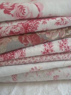 Shabby chic printed fabrics, illustrated with roses on a white background Motif Floral, Floral Fabric, Linen Fabric, Cushion Fabric, Red Fabric, Inchies, French Fabric, Linens And Lace, Fabulous Fabrics