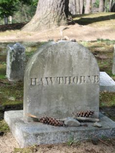 Nathaniel Hawthorne's head stone in the Sleepy Hollow Cemetery in Concord, Massachusetts. Cemetery Headstones, Old Cemeteries, Cemetery Art, Graveyards, Sleepy Hollow Cemetery, Concord Massachusetts, Salem Mass, Portland, Nathaniel Hawthorne