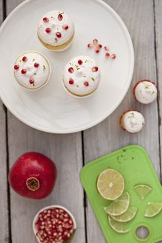 Pomegranate and Lime Olive Oil Yogurt Cupcakes from @Shaina Olmanson | Food for My Family