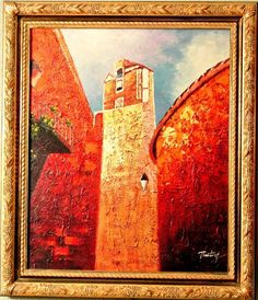 """Timothy-""""Red Castle""""-ORIGINAL Oil Painting/Canvas/Hand Signed and Framed!  #Impressionism"""