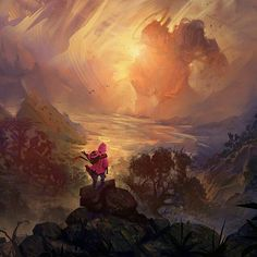 from @4rt_craft -  Title: In Paradise . Artist: João Paulo Bragato . Link to artist: bragato.artstation.com bragatoilustra.deviantart.com @bragatoilustra . #art #fantasy #mythical #adventure #artstation #devianart #game #medieval #digitalart #conceptart #digitalpainting #drawing #painting #illustration #scifi #geek  #paradise #pink #girl . #superheroencyclopedia #superheroencyclopedia by superheroencyclopedia.com