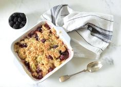Paleo Apple Blackberry Crisp recipe made with a purely fruit sweetened base, and high-protein, gluten-free, almond flour topping.