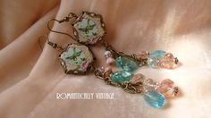 Victorian Stunning Dangle Earrings Aqua by RomanticallyVintage, $82.50