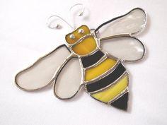 Stained Glass Honey Bee Suncatcher by GlassofDistinction on Etsy, $13.95