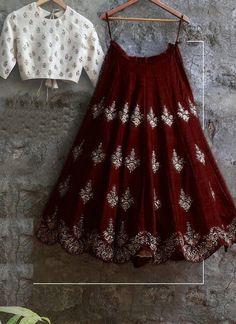 Banglory Silk Brown & White Embroidery Latest New Designer Lehenga Choli Indian Fashion Dresses, Indian Gowns Dresses, Indian Bridal Outfits, Dress Indian Style, Indian Designer Outfits, Fashion Outfits, Lehenga Choli Designs, Ghagra Choli, Simple Lehenga Choli