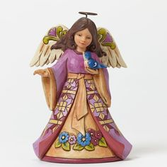 """Jim Shore """"Sing the Prayer In Your Heart"""" Pint-Size Angel with Bluebird"""