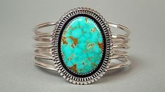 Navajo Native American BEGAY Sterling Silver & Oval Turquoise Cuff Bracelet