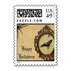 Spooky Vintage Raven and Spider Halloween Postage