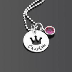 LITTLE QUEEN 925 Silber Taufkette mit Namensgravur Kinderschmuck