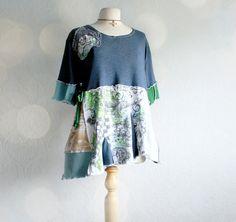 Upcycled Clothing Plus Size Shirt 3X Navy Blue Rustic Eco Top Bohemian Tunic Wearable Art Gypsy Clothes Womens Wear SASHA via Etsy