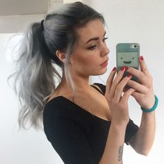 Silver ombre long hair ponytail #grannyhair #greyhair