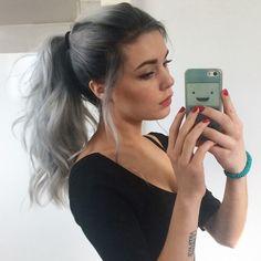 Silver ombre long hair ponytail  #grannyhair #greyhair