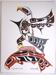 Eagle and Salmon on Canvas Anthony Joseph Description This painting shows an eagle diving down to catch a jumping salmon. Looking at the two animals you can feel the speed of the action. Created by a master artist this painting will enhance any room Native American Totem, Native American Paintings, Native American Pictures, Native American Symbols, Native American Design, Native Design, American Indian Art, Native Symbols, Inuit Kunst