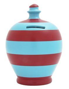 Stripe Money Pot Light Blue and Burgundy - B43