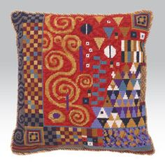 Ehrman Tapestry: Klimt Coral  The kits include a 100% cotton canvas printed in full colour, all the yarns required (100% pure new wool), a needle and an easy to follow guide to get you underway.