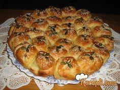 Recept za Pogaču punjena mesom. Za spremanje pogače neophodno je pripremiti brašno, so, šećer, kvasac, prašak za pecivo, mileram, mleko, puter. Bosnian Recipes, Serbian, Pains, Bread, Cookies, Knitting, Cake, Desserts, Food