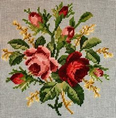 Canvas measurement Design size Background needs to be stitched. A Al Weiss Madeira original. Great to be finished as a pillow, picture, or chair seat. Cross Stitch Love, Cross Stitch Borders, Cross Stitch Flowers, Cross Stitch Designs, Cross Stitch Patterns, Mosaic Flowers, Diy Flowers, Cross Stitch Embroidery, Embroidery Patterns