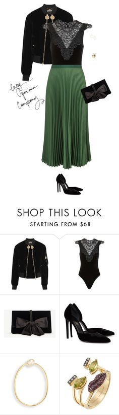 """""""Green Tuesday"""" by rossbarrantes ❤ liked on Polyvore featuring Givenchy, Topshop, Vanessa Bruno, Ann Taylor, Yves Saint Laurent and Delfina Delettrez"""
