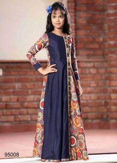 Multi Color Digital Print Chennai Silk Kids Frock-95008