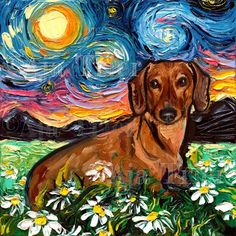 **Please note this is an art print. It is a reproduction of a past work - not an original. Dimensions - and inches - choose from drop down menu on right. Media - Fade resistant inks Support - High quality stretched canvas on inch thick *or* inch Brown Dachshund, Arte Dachshund, Daschund, Canvas Artwork, Canvas Art Prints, Painting Prints, Starry Night Art, Art Night, Original Artwork