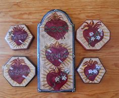 Corazon Retablos Colonial Art, Sacred Heart, Hearts, Fire, Traditional