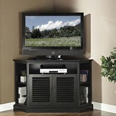 Black Corner Tv Stand Flat Screen 52 Inch Television Entertainment Center New 60