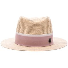 Maison Michel Andre Hat (2,575 SAR) ❤ liked on Polyvore featuring accessories, hats, maison michel hats, straw hat, band hats, logo hats and brim straw hat