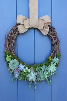 How to make a succulent and grapevine wreath. This succulent wreath is perfect for any time of year.