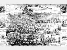 "An illustration of Andersonville prison bears the caption, ""Let us forgive. But not forget."" Andersonville had the highest mortality rate of any Civil War prison. Nearly 13,000 of the 45,000 men who entered the stockade died there, chiefly of malnutrition."