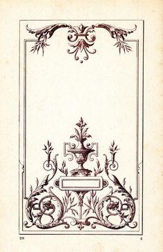 Illustration Botanique Vintage, Art Deco Illustration, Wall Painting Decor, Stencil Painting, Classic Wall Paint, Decoration Baroque, Deco Baroque, Arabic Pattern, Vintage Book Covers