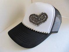 Trucker Hat, Baseball Hat, Black, White,  Crystal Cap, Heart Rhinestone Hat, Bling Hat, Woman, Cap, Bling Cap, Baseball Hat, Baseball Cap on Etsy, $31.00